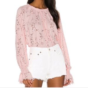 NWT FREE PEOPLE Olivia Pink Lace Long Sleeve Top